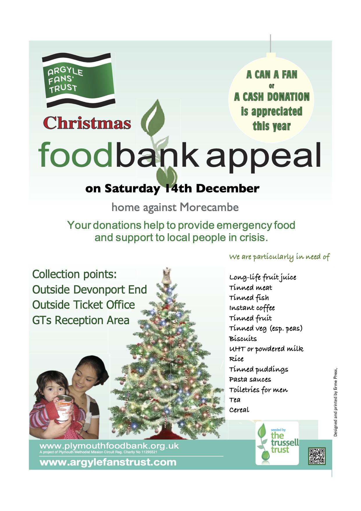 Christmas Foodbank Appeal Argyle Fans Trust
